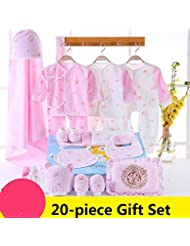 SHISHANG Boîte cadeau pour bébés 100% coton pur Ensemble cadeau pour bébé complet (set de 20 pièces) Boy Girl Four Seasons pour bébé de 0 à 1 ans