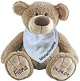 Stofftier Teddy Bär und Baby Halstuch im Set mit Namen personalisiert hellblau