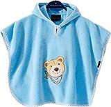 Morgenstern Baby Badeponcho Kapuzentuch Poncho Blau Baumwolle bestickt mit Bär