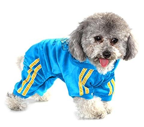Pegasus Trainingsanzug für Haustiere, Haustierkleidung für Welpen, Katzen & Kleine Hunde, weicher Samt, mit Kapuze, Schlafanzug / Trainingsanzug, Blau, Gr. M