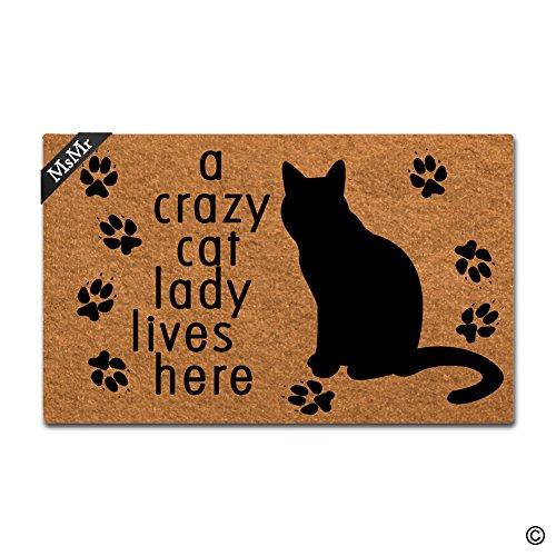 MsMr - Felpudo entrada texto inglés «A Crazy Cat