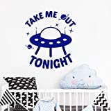Modeganqingg Adesivi murali Nave aliena con Me Stasera Adesivo in Vinile Camera da Letto Avventura Art Sticker murale Camera dei Bambini Blu 57x64 cm