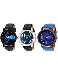 Matrix Multicolor Dial & Multicolor Leather Strap Analog Watches for Men/Boys - Combo (Pack of 3) - (TRP-9)