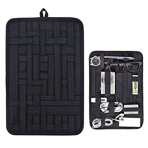 Band Organizer (FAVENGO Elektronik Organizer Zubehör 310x220mm Elastisches Organisationssystem Tasche mit Elastisches Bänder und Reißverschlussbeutel für SD-Karten/Werkzeuge/Kosmetikum)