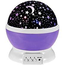 Esonstyle Nueva Generación de 360 Grados de Sol Romántica Noche de la Estrella de la Lámpara de luz de Lámpara Giratoria de Habitaciones para la Noche del Cuarto de Niños Dormitorio para Habitaciones de Niños Niños (Púrpura)