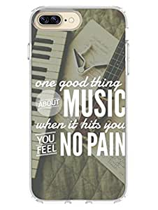 iPhone 7 Plus Cases & Covers - Music Hits With No Pain - Addicted To Music - Quote - Designer Printed Hard Case with Transparent Sides
