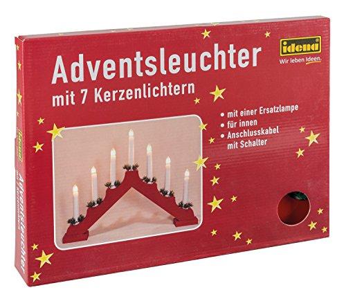Idena Chandelier de l'avent avec 7 chandelles Rouge, avec des bougies rot