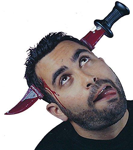 Blutiges Messer im Kopf Kostüm - Zombie Nerd Kostüm Kinder