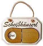 Kaltner Präsente Holz Schild Türschild aus massivem Ahorn für das WC Toilette Schriftzug Scheißhäuserl mit Klodeckel zum umklappen