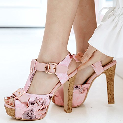 ... AIYOUMEI Damen Peep Toe T-spangen Knöchelriemchen Plateau Sandalen mit  Blumenmuster Blockabsatz Sommer Schuhe Rosa 18a8aa9a9f