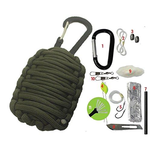 Survival-Kit Paracord-Granate - 11-teilige Überlebens-Ausrüstung mit Feuerstarter-Set, Angelschnur, Fischhaken uvm.
