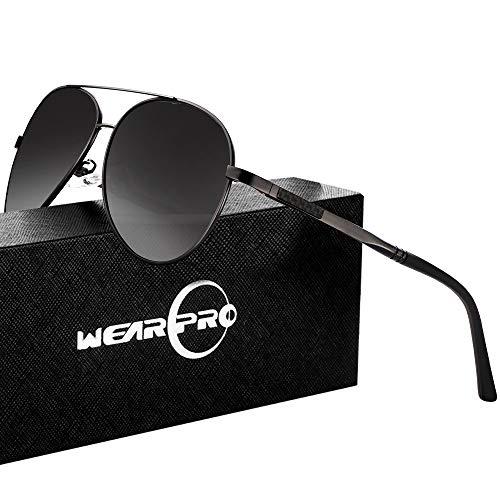 wearpro Sonnenbrillen Herren Damen Pilotenbrille Herren Polarisierte Sonnenbrille Männer Retro Halbrandlose Premium Military Style Klassische Mode Metall Brille 100% UV400 UV-Schutz