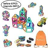 MeetDream Magnetische Bausteine, 87 Stück Gebäude Bau Block Kinder DIY Stocking Spielzeug Kreativität Lernspielzeug für Kinder mit Tragetasche