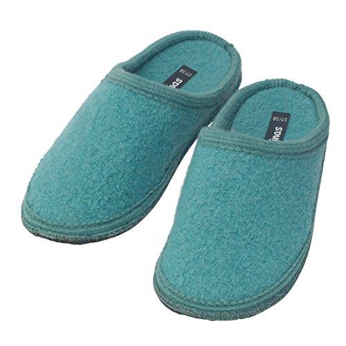bacinas Hausschuhe Damen   Warme Pantoffeln aus 100% Schurwolle. Die Pantoletten aus gewalkter Schafwolle Sind Ideal als Gästeschuhe Oder als Bequeme Slipper für zu Hause Türkis Größe:39/40