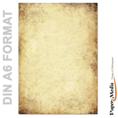 Papier à motif à lettres VIEUX PAPIER DIN A6 format 100 feuille de papier