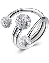 ischmuck 925plata de ley Anillo Plata Arena narguile bola perla perlas ajustable tamaño boda alianzas abierto Mujer