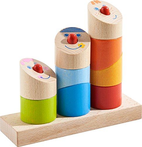 HABA 303711 - Steckspiel Schräge Typen | Holzspielzeug aus 10 Teilen mit 3 lustigen Köpfen zum Zusammenbauen | Spielzeug ab 18 Monaten