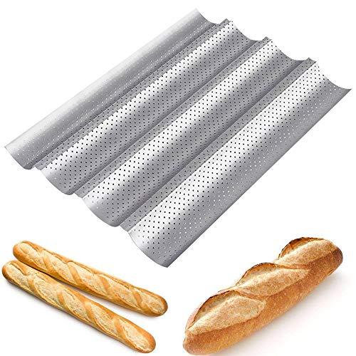 Amagabeli Baguetteblech Baguette Pan 38x33x2.5cm Antihaft-perforiert Vier Stück Französisch Brot Backen Pfanne Italienisches Pfanne backen Dosen Korb Tablett Cloche Pfannen blechformen Backen