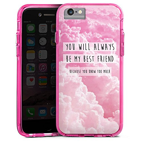 Apple iPhone X Bumper Hülle Bumper Case Glitzer Hülle Freunde Friends Bf Bumper Case transparent pink