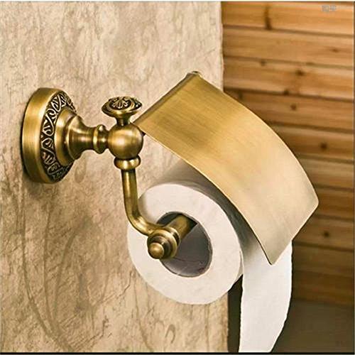 Weare Home Badaccessoires Retro Solide Kupfer Toilettenpapierrollenhalter mit Deckel Gravierent Bronze Beschichtung Wandmontage Haltbar Badzubehör Dekor für Küche