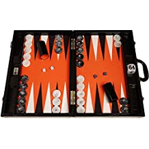 "21"" Tournament Backgammon Set by Wycliffe Brothers - (Black Croco Board with Orange Field) - Gen III"