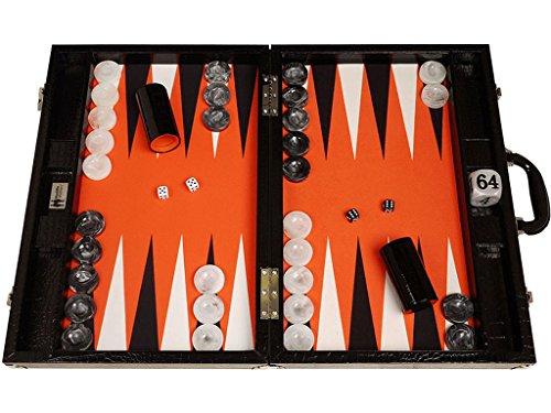 Preisvergleich Produktbild Wycliffe Brothers Backgammon-Turnierset – Schwarzes Kroko mit orangefarbener Spielfläche – Gen III