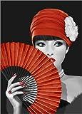 Posterlounge Alu Dibond 90 x 130 cm: Die Frau mit Dem Fächer von Monika Jüngling