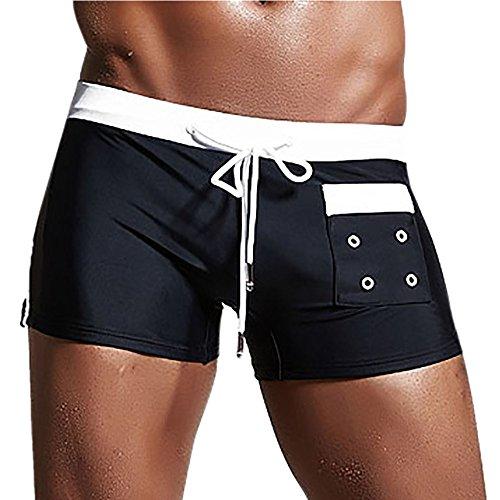 OVERDOSE Shorts de Bain Taille Basse, Été Homme Sexy Maillots de Bain Tongs Vêtements de Plage Slim Slips (XL, Noir)