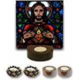TYYC Christian Gifts, Loving Lord Jesus Christ Votive Tealight Candle Holder For Christmas Set Of 5