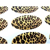 Pack of 48 Leopard Print Seals, 40x20mm Oval Seal Labels, Stickers for Gift Wrapping, Presents, Envelopes, Bags or Cards