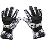Phenovo Women Winter Sports Waterproof Motorcycle Snow Ski Gloves - Black Printing M