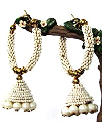 Shree Mauli Creation White Alloy White Pearl Jhumka Earring For Women SMCE118