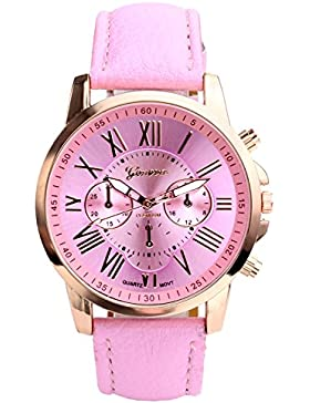 JSDDE Uhren,Damenmode Genf r?mischen Ziffern Analog Quarzuhr chrono Armbanduhr(Rosa)