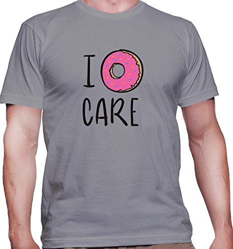 T-shirt da uomo con I Donut Care Funny Illustration Slogan stampa. Girocollo. Medium, Grigio