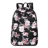 Neuleben Damen Mädchen Schulrucksack mit Blumenmuster Wasserabweisend Rucksack Daypack Schultasche mit 14 Zoll Laptopfach (Schwarz)