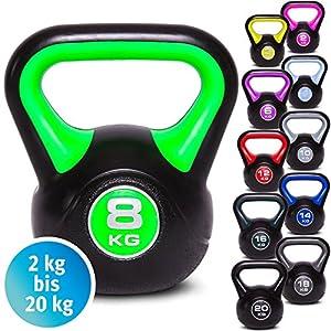 C.P.Sports Kettlebell Kugelhantel Vinyl Handgewicht Gymnastik, Kettle Bell, Kettlebells, Schwunghantel 2kg 3kg 4kg 5kg 6kg 8kg 10kg 12kg 14kg 16kg 18kg 20kg