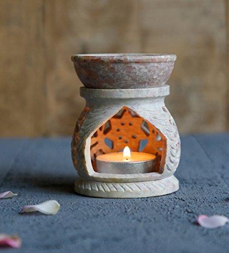 Store Indya, La pietra ollare naturale luce del te di candela votiva titolare del bruciatore di incenso con floreale incisione