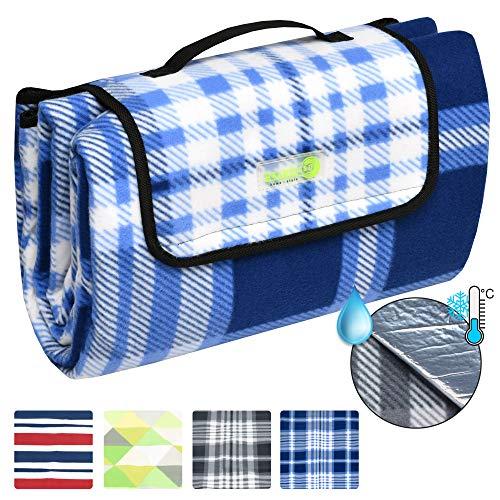 Beautissu coperta telo impermeabile per picnic 200x200cm bellapa - plaid in pile con manico - per campeggio - blu bianco