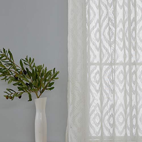Deconovo Moderne, weiße Volie-Vorhänge mit Stickerei, Rautenmuster, Gardinenstange, durchsichtig, 2 Paneele 38x63 Inch weiß (63 Lange Gardinen)