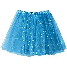 Falda corta de plisada de mujer QinMM Falda de baile de estrella de tutú de adulto