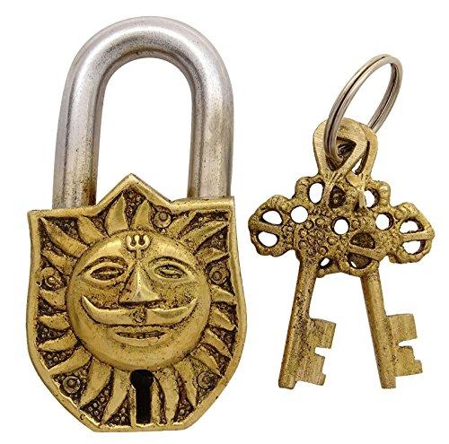 La Cara Del Sol Y Om Antiguo Candado Figura Simbólica Cerraduras Y Ll