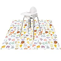 """51"""" Splat Mat for Under High Chair/Arts/Crafts, Womumon Washable Spill Mat Waterproof Anti-Slip Floor Splash Mat, Portable Play Mat and Table Cloth"""