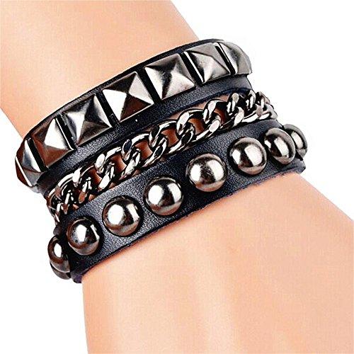 Cool Fashion Adjustable Pressure Lock Street Rock Punk Leather Multilayer Bracelet 5 Color