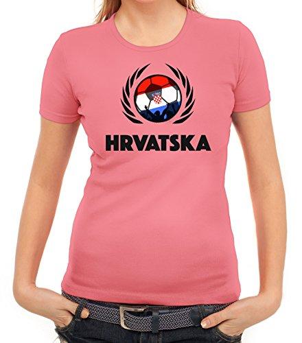 ShirtStreet Hrvatska Croatia Soccer Fussball WM Fanfest Gruppen Fan Wappen Damen T-Shirt Fußball Kroatien Rosa