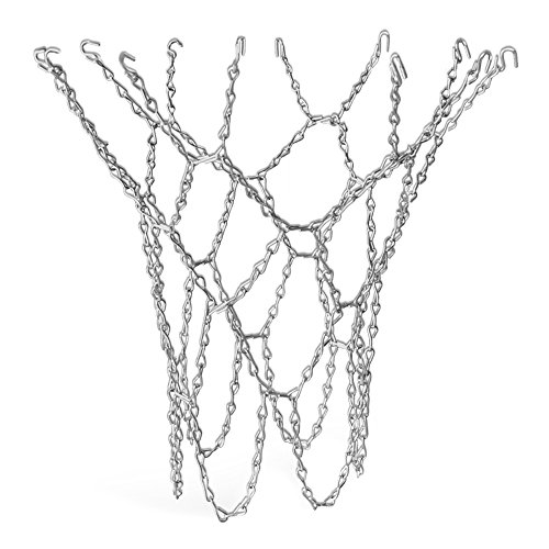 Trixes Basketballnetz in Silber mit S-Haken - Hochbelastbares und langlebiges Metall-Pro (Ersatz) Standardgröße