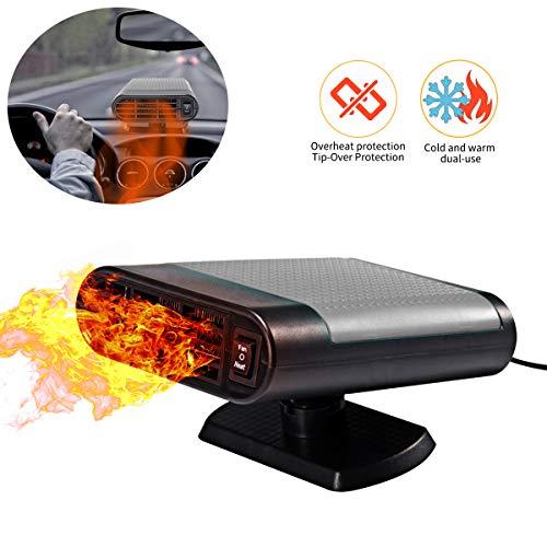 Tragbar Auto Heizlüfter Entfroster 2-in-1 Auto-Heizung Wärmer für Winter Windschutzscheibe Auto-Heizung Kühlventilator Abtauen Demister 12V 150W (Grau)