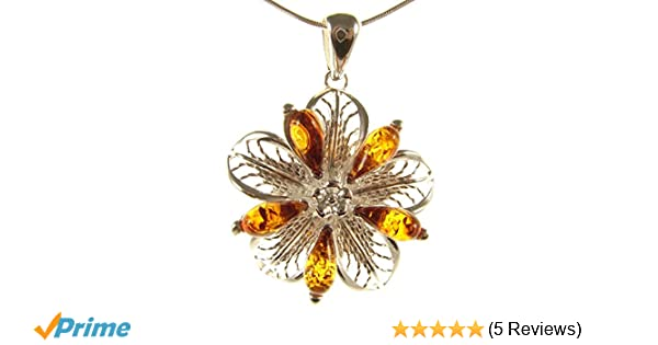 Baltic amber and sterling silver 925 designer green flowerbud pendant necklace 10 12 14 16 18 20 22 24 26 28 30 32 34 36 38 40 1mm ITALIAN SNAKE CHAIN