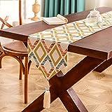 Camino de mesa Corredor de tabla de enrejado de color Impreso decoración clásica natural Corredor de tabla Decoración impresa Mesa de té de té Kungfu Mesa de TV en el hotel Home Cafe Restaurant Decoración hogareña ( Size : 50*180CM )