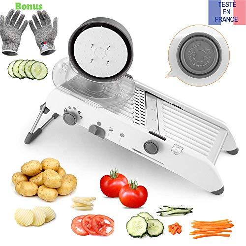 Tasty health Mandoline de Cuisine Multifonctions Coupe légumes de qualité Professionnel Robuste, Peu encombrant et Facile à Utiliser pour la découpes de Vos légumes...