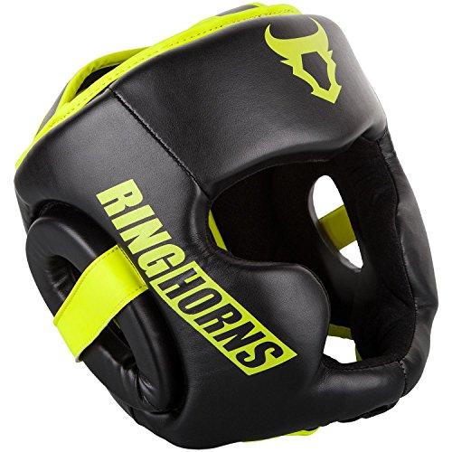 Ringhorns Charger Cascos de Boxeo, Unisex Adulto, Negro/Amarillo Fluo, Talla única